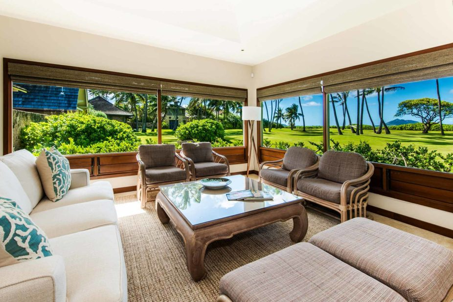 kailua shores beach house living room view