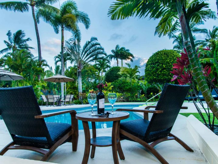 romantic pool setting at kailua shores estate